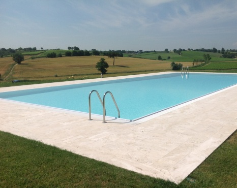The inevitable pool standing incongruously in the grounds.