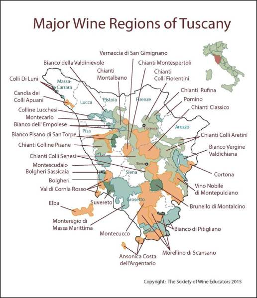 Wine regions in Tuscany. Cortona and Montepulciano are in the east. Credit: Society of Wine Educators.