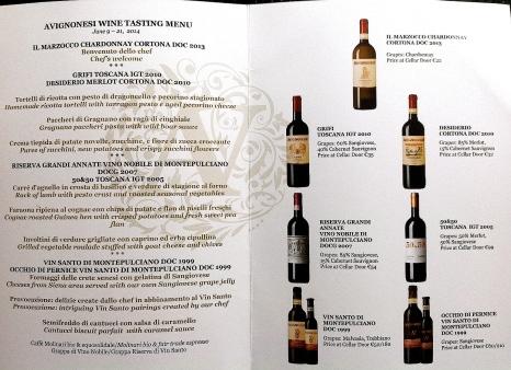 Avignonesi's food and wine menu.