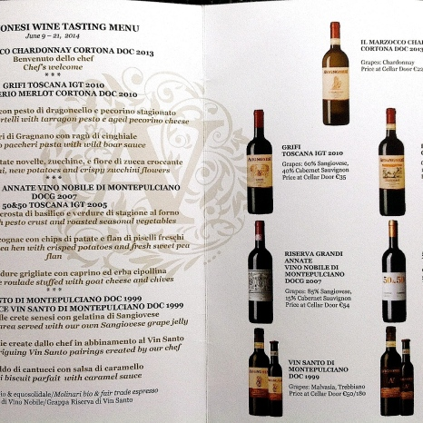 Avignonesi's food and wine menu.