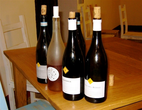 The five wines we tried, two white, two red and a rosato.