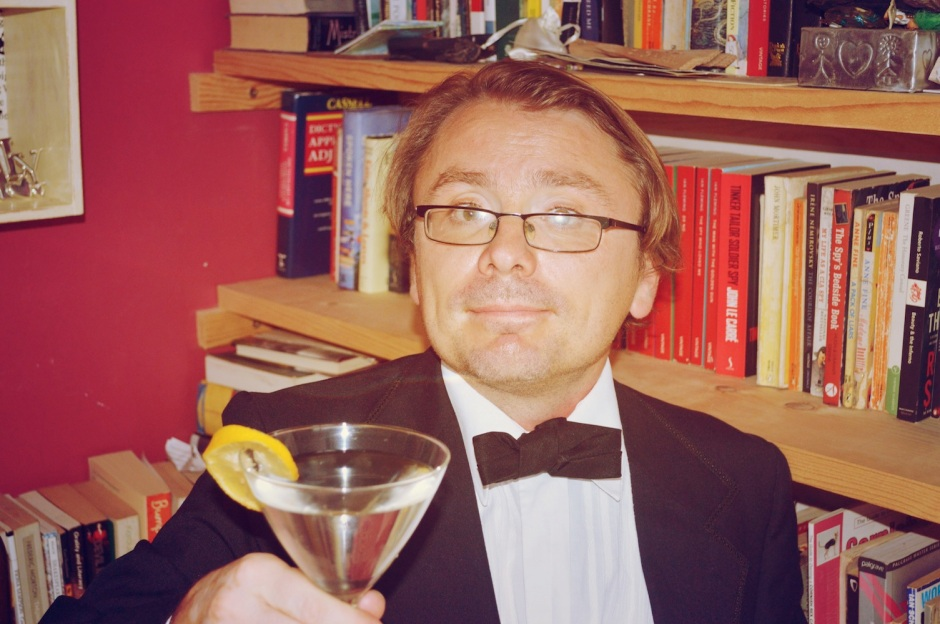 Fortunately Andy made a better fist of his Bond Martini than he did for his Bond get-up. The bow-tie appears to have been whisked like an egg.