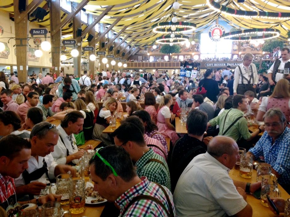Inside the Paulaner beer tent. Gut, besser, Paulaner—Good, better, Paulaner.